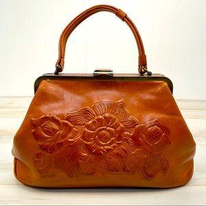 Patricia Nash Tooled Rose Satchel Leather